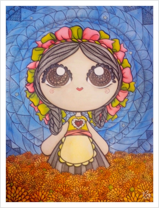 "Illustration made for ""Mi pequeña mazahua"" by mexican illuminator Veronik Ilustra"