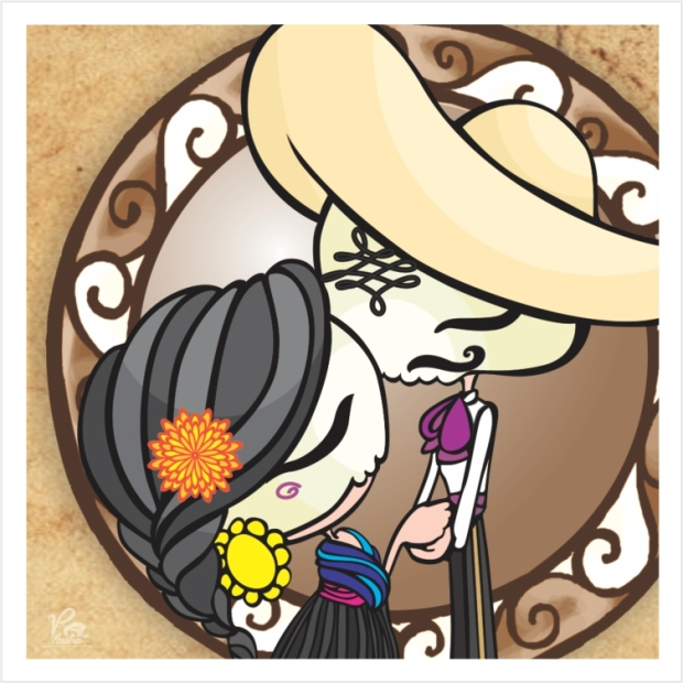 """Dos besos by Veronik Ilustra from the illustrated collection """"la llorona"""" inspired by the mexican traditional song of chavela vargas."""