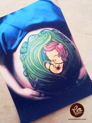 Ilustracion bebé body paint 002 by Veronik Ilustra