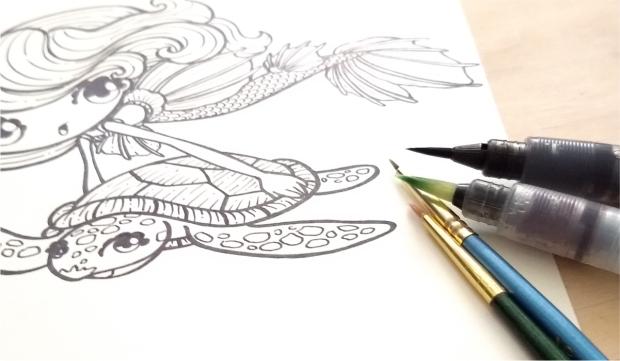 Ilustracion entintado pincel redondo by Veronik Ilustra