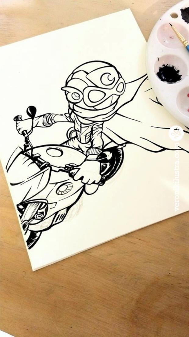 Capitan Centella Fanart Inktober 06 by Veronik Ilustra #Inktober, ilustracion, blanco y negro, dibujo, entintado, astroboy, fanart, Veronik Ilustra, caricaturas de los 80´s