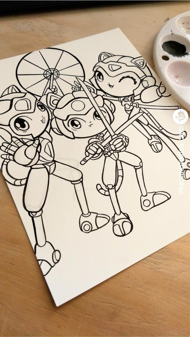 Inktober, blanco y negro, ilustración, samurai pizza cats, gatos samuray, fanart, caricaturas de los 80's
