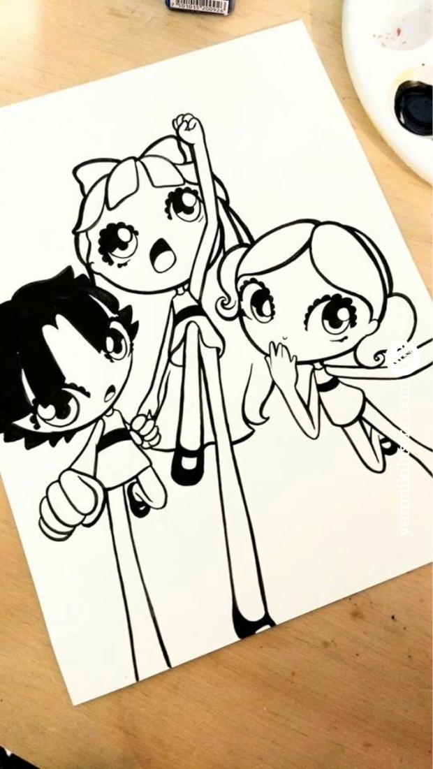 #Inktober, ilustracion, blanco y negro, dibujo, entintado, las chicas super poderosas, the powerpuff girls, fanart, Veronik Ilustra, caricaturas de los 80´s